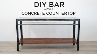 DIY Bar with Poured-in-Place Concrete Countertops