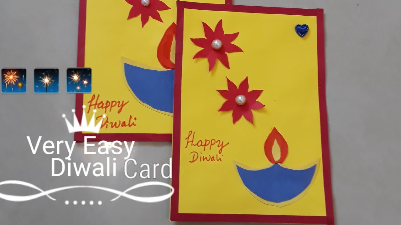 very easy diwali greeting card l simple diwali card for