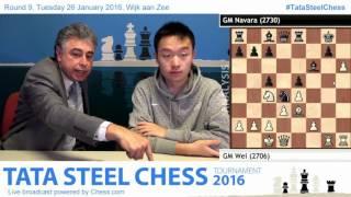 Wei Yi beats David Navara, his 1st win, game Analysis - Tata Steel Chess 2016