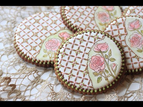 How to Stamp and Stencil a Cookie (aka Rose Lattice Cookie) - YouTube