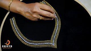 aari work for beginners | aari work blouse neck designs | step by step tutorial | #diy | #144