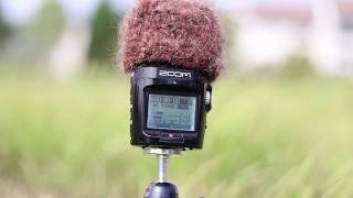 Testing a DIY woven wind attenuator for Zoom H2N