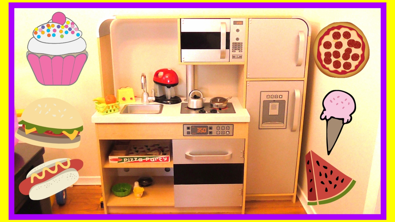 Playing with a Toy Kitchen and Play Food - KidKraft Toy Kitchen,  Educational Toys for Kids