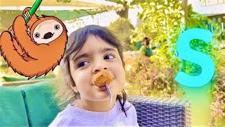 Dua @ kid's Picnic Brunch at The Green Planet Dubai. (Part 1) Meets Sloth, Snake and Chameleon.