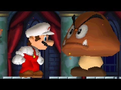 New Super Mario Bros DS - All Castle Bosses with Giant Fire Mario