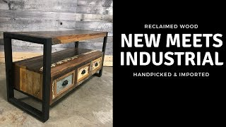 Small Reclaimed wood Industrial flat screen tv stand