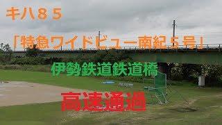 キハ85「特急ワイドビュー南紀5号」伊勢鉄道鉄道橋高速通過