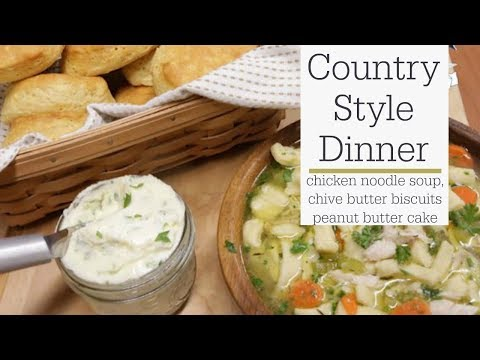 Country Dinner Recipes - Chicken Noodle Soup and Peanut Butter Sheet Cake | RadaCutlery.com