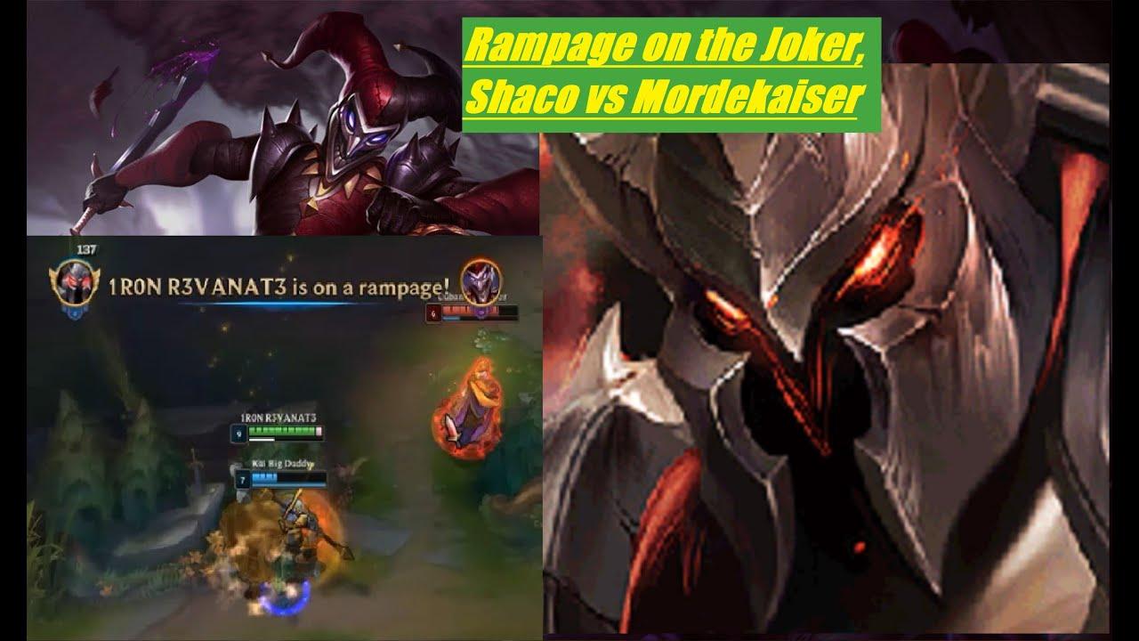 Rampage On The Joker Shaco Vs Mordekaiser Season 9 Top Lane League Of Legends Gameplay Youtube