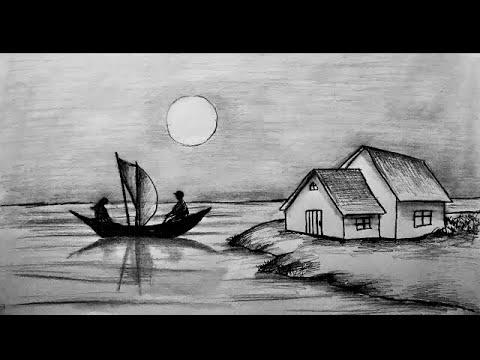 Karakalem Manzara Peyzaj Çizimi Nasıl Yapılır   Landscape Scenery Picture Drawing Art