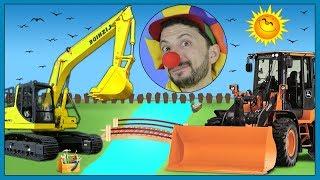 Construction vehicles Excavator & Truck in Bridge Construction video with Clown Bob