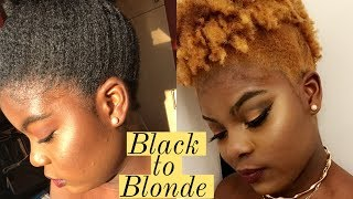 Dying my Natural Hair for the First Time! Black to Blonde  | Mani Keny