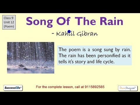 Song of the Rain Kahlil Gibran, CBSE Class 9 Poem Explanation, NCERT Solutions