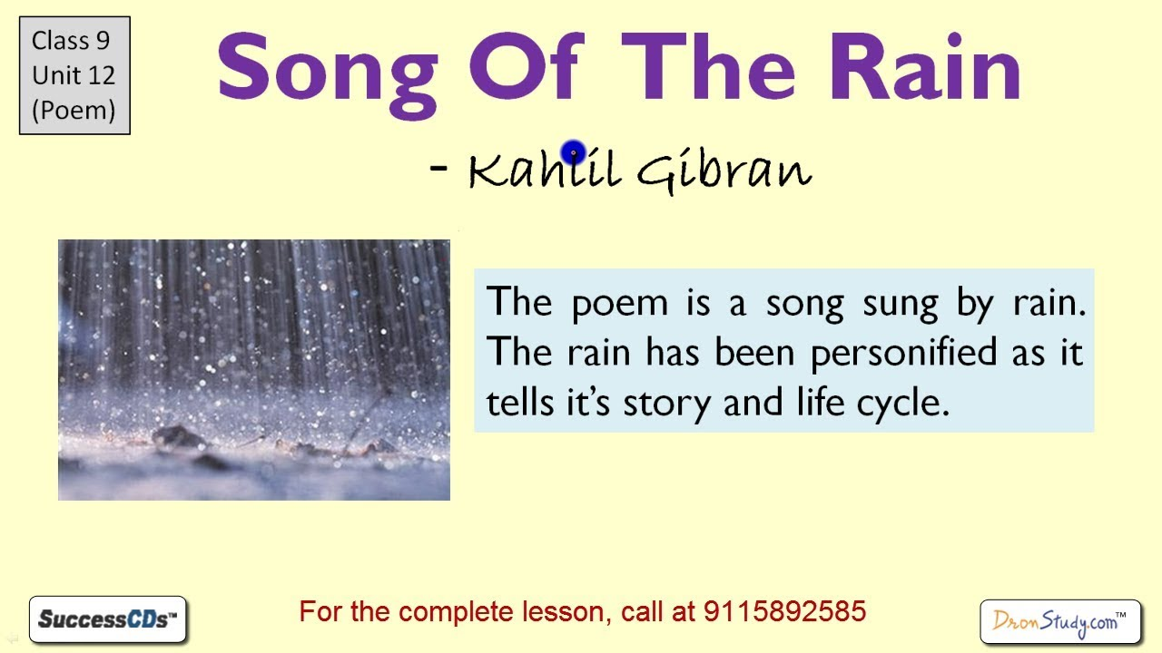 Song Of The Rain Kahlil Gibran Cbse Class 9 Poem Explanation Ncert Solutions