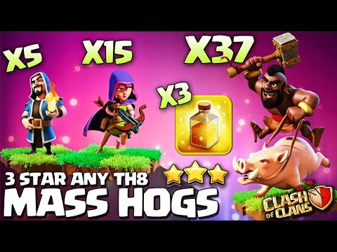 Clash Of Clans | Best Th8 Hog Attack Strategy of 2018 | Lvl 4 Hogs Vs Th8 | Mass Hog Attack Strategy