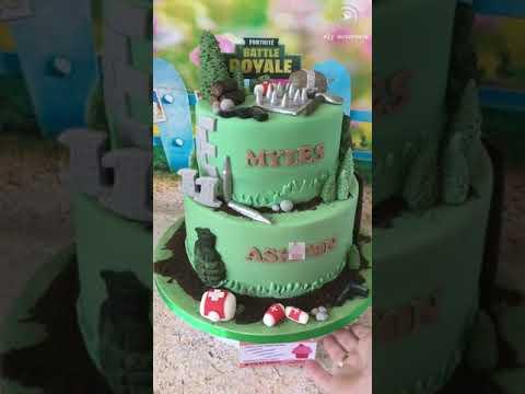 Fortnite Game Fondant 2 Tier Birthday Cake Boy39s Birthday