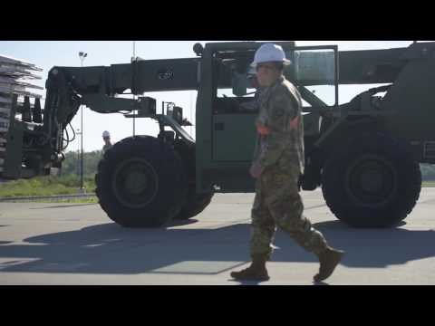 B-ROLL: Soldiers prepare railhead for returning 76th Infantry Brigade Combat Team