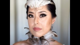 Glamorous White Swan Masquerade Feather Makeup Tutorial Inspired by the Mockingjay