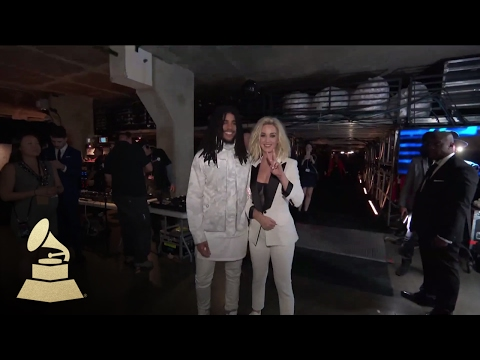 Katy Perry & Skip Marley Backstage Having Fun  Backstage  59th GRAMMYs