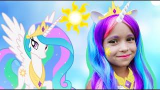 Kids Makeup Sofia Becames a Princess Celestia My Little Pony DRESS UP & plays Dolls