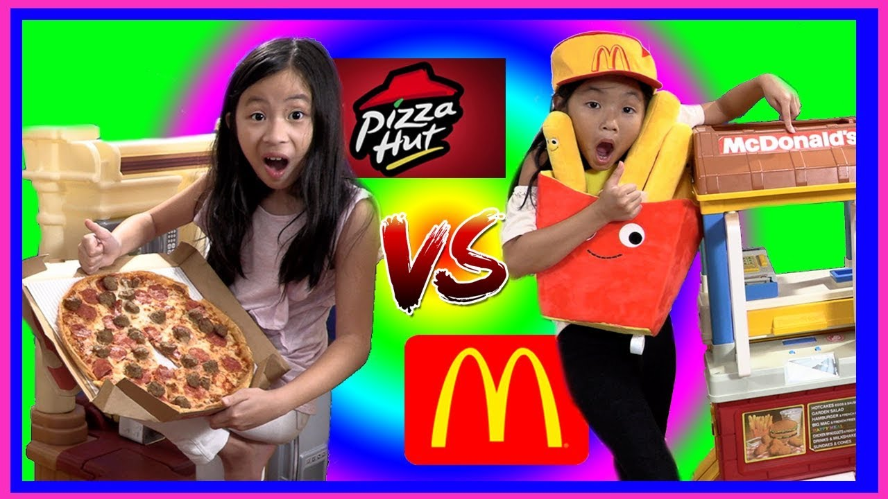 Pretend Play Mcdonalds Vs Pizza Hut Challenge With Ryans Toy Review Inspired