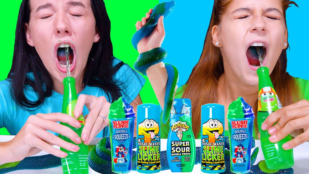 ASMR Blue VS Green Food Color Challenge (Giant Gummy Snake, Super Sour Candy, SLime Licker)