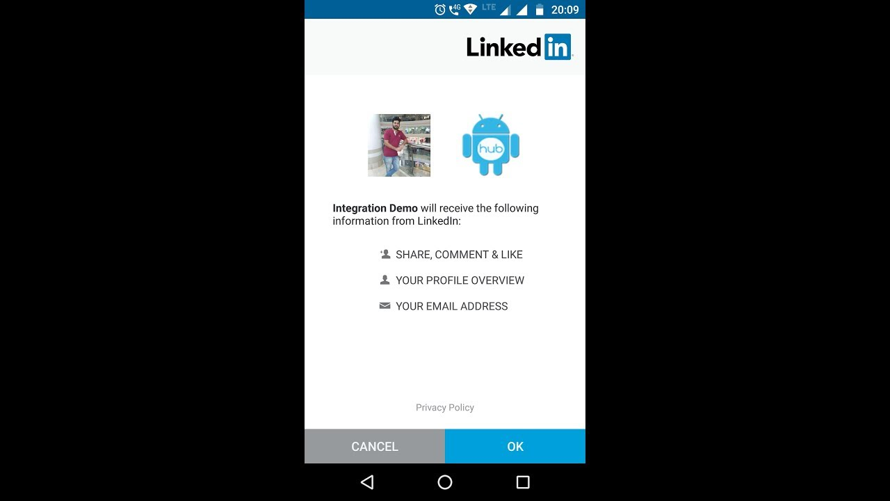 Android LinkedIn Integration - Androhub
