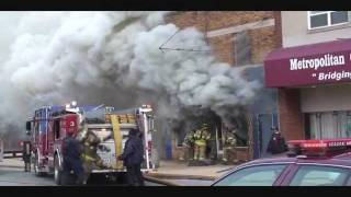 Gary Truck 4 Starts On Fire At A Store Front Fire, Heavy Smoke And Fire Showing.