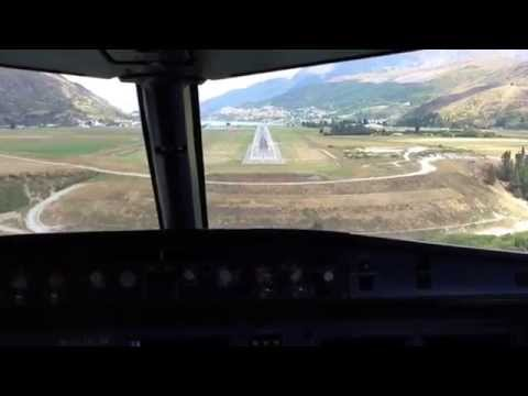 Flying into a blustery but beautiful Queenstown Airport, New Zealand. A320 Aircraft
