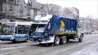 MONTREAL GARBAGE TRUCKS ON A VERY COLD DAY!