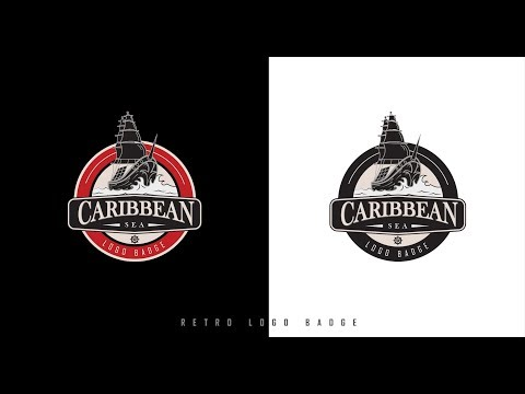 Retro Logo Badge | Adobe Illustrator Tutorial | Caribbean