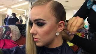 Причёска для бальных танцев. Hairstyle for ballroom dance.