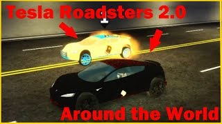 Tesla Roadster 2.0 Vs. Tesla Roadster 2.0 in Around the World (Roblox)