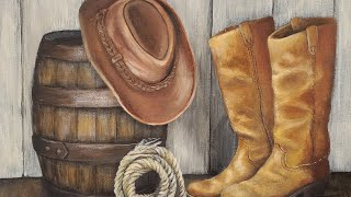 Cowboy Hat & Boots Rustic Still Life Acrylic Painting LIVE Tutorial
