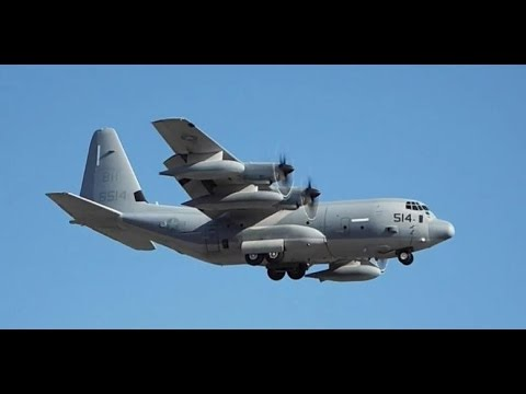 United States Marine KC-130J Landing,Close-up taxi & Takeoff at Quebec City (YQB)