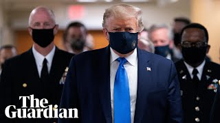Donald Trump openly wears face mask for first time during hospital visit