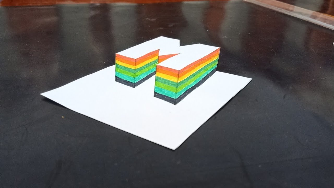 Colorful letter M stands on the surface of the paper_ Vẽ chữ M 7 màu sắc 3D