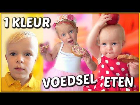 1 KLEUR VOEDSEL ETEN VOOR 24 UUR 🌈 | Bellinga Familie Vloggers #1435