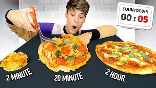 i made a 2-MINUTE vs. 20-MINUTE vs. 2-HOUR pizza recipe
