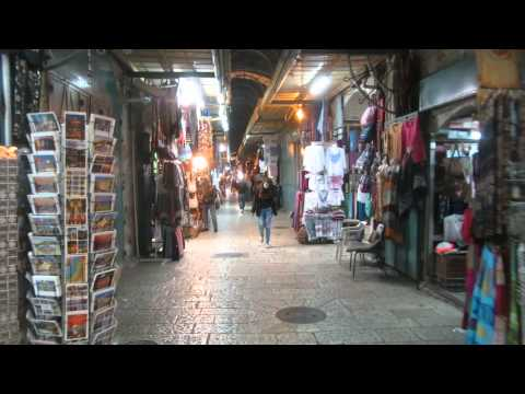 The Old City of Jerusalem at night - the Christian Quarter Market St