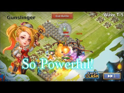 Castle Clash Gunslinger Vs HBM T Epic Heroes [5Hero Base]