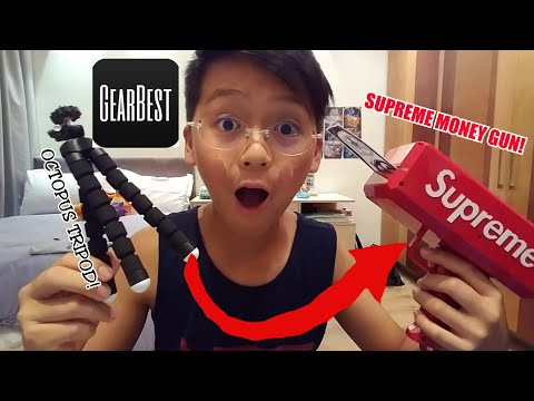 SUPREME MONEY GUN AND OCTOPUS TRIPOD REVIEW+UNBOXING FROM GEARBEST!!!