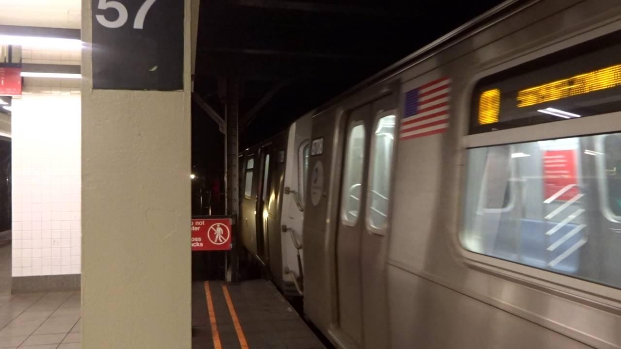 NYC Subway 57th Street 7th Avenue Bound R160 Q Entering A4 Track