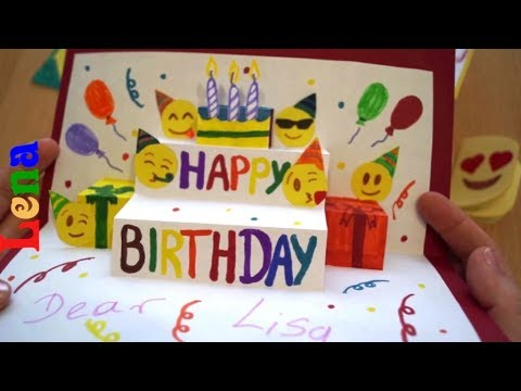 smiley-geburtstagskarte-basteln-🎉-😉-emoji-birthday-card-diy-🎈-Эмоджи-открытка
