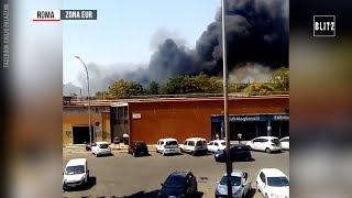 Roma, incendi in zona Eur Magliana: vigili del fuoco al lavoro