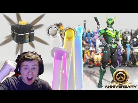 [Overwatch] Unboxing 201 Anniversary Lootboxes + Giveaway