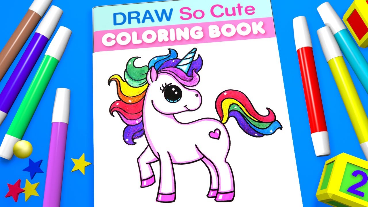 Unicorn coloring pages for kids learn color draw so cute coloring book