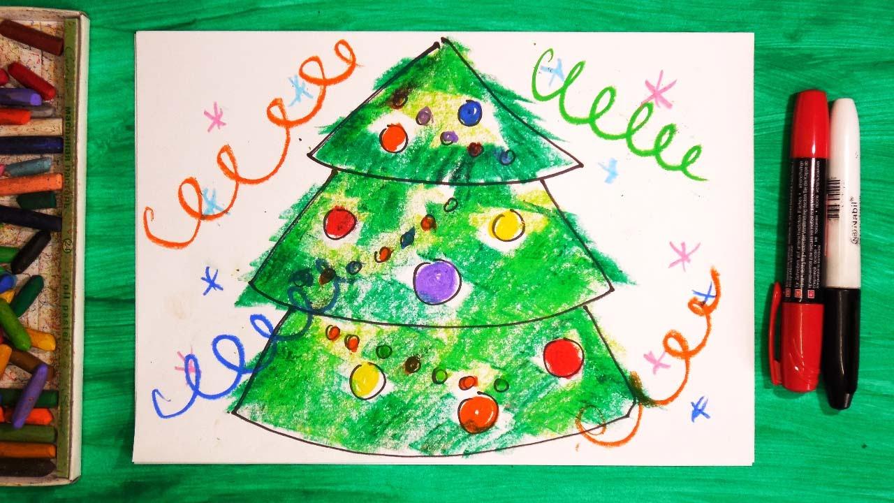 Новогодние открытки на уроках рисования