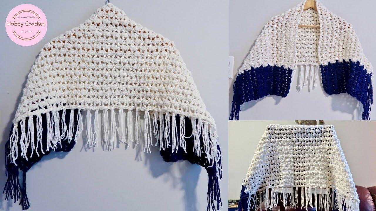 Chal rectangular facil a crochet paso a paso (Versión diestra) - YouTube