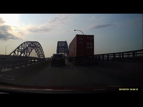 Driving on Interstate 190 from Buffalo to the Canadian Border in Lewiston in the Summer 2015, USA